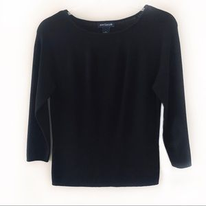 Ann Taylor Black Scoop Neck 3/4 Sleeve Top Size S